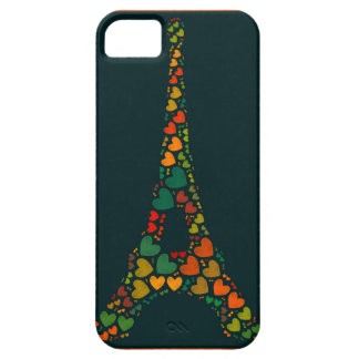Multicolored Eiffel Tower with hearts iPhone 5 Cover