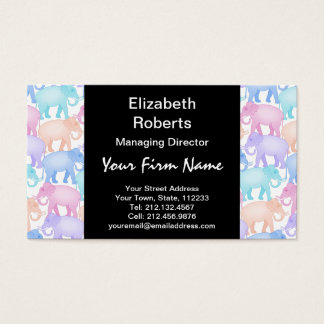 Multicolored Elephants Baby Shower Child Birthday Business Card
