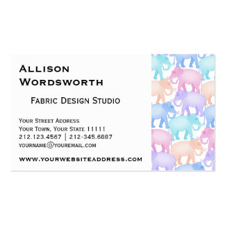 Multicolored Elephants Baby Shower Child Birthday Business Card Template