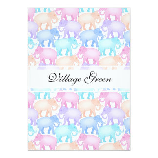 Multicolored Elephants Baby Shower Child Birthday Card