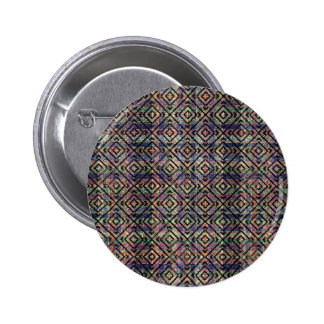 Multicolored Ethnic Check Seamless Pattern Pinback Button