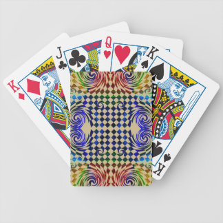 Multicolored examined bicycle playing cards