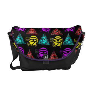 Multicolored Eye of Horus Courier Bag
