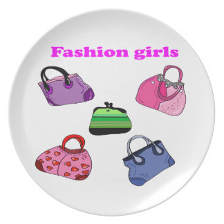 Multicolored Fashion bags illustration Dinner Plate