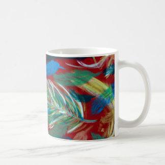 Multicolored feather eddy coffee mug