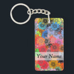 """Multicolored floral pattern keychain<br><div class=""""desc"""">Pretty colorful multicolored  modern feminine floral hippy style pattern design,  personalize with your name or text or visit the PATTERNZSTORE for matching products.</div>"""