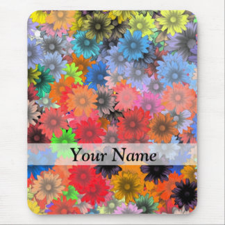 Multicolored floral pattern mouse pad