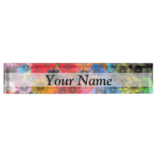 Multicolored floral pattern name plate