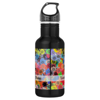 Multicolored floral pattern stainless steel water bottle