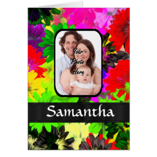 Multicolored floral photo background greeting card