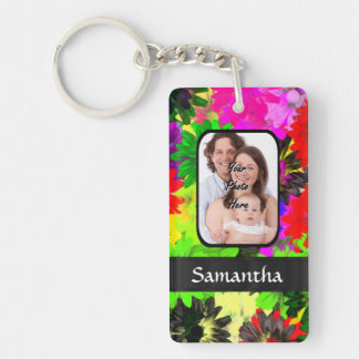 Multicolored floral photo background keychain