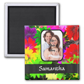 Multicolored floral photo background magnet