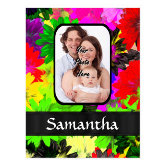 Multicolored floral photo background postcard