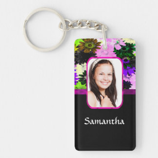 Multicolored floral photo template keychain