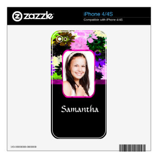 Multicolored floral photo template iPhone 4S skin