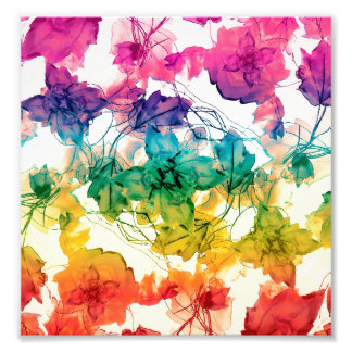 Multicolored Floral Swirls Decorative Design Photo Print