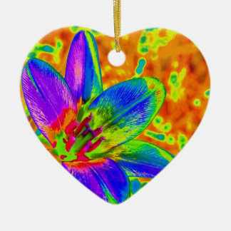 Multicolored flower ceramic ornament