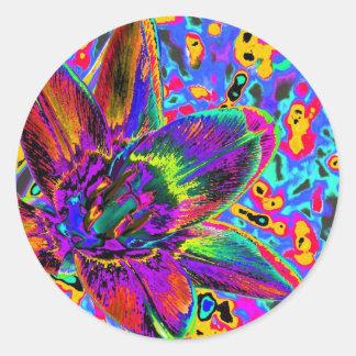 Multicolored flower classic round sticker