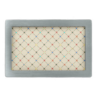 Multicolored Flowers And Square. Geometric Pattern Belt Buckles
