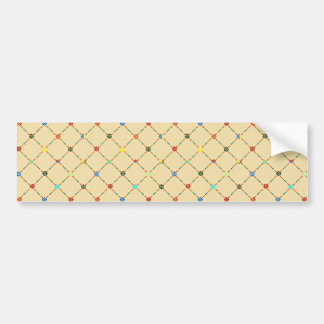 Multicolored Flowers And Square Geometric Pattern Bumper Sticker