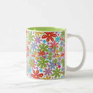 Multicolored Flowers Design. Floral Pattern Two-Tone Coffee Mug