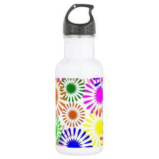 Multicolored Flowers 18oz Water Bottle
