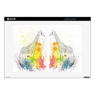 """Multicolored Funky Giraffe (K.Turnbull Art) 15"""" Laptop Skin"""