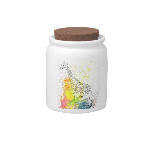 Multicolored Funky Giraffe (K.Turnbull Art) Candy Jars