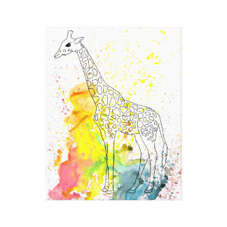 Multicolored Funky Giraffe (K.Turnbull Art) Canvas Print