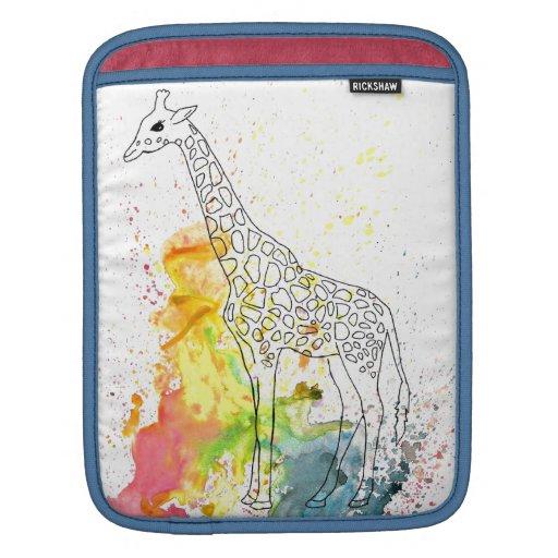 Multicolored Funky Giraffe (K.Turnbull Art) iPad Sleeve