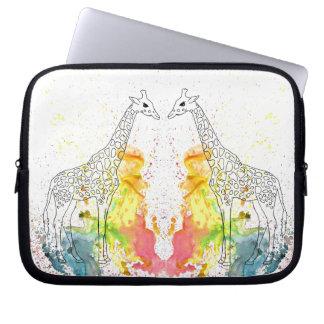 Multicolored Funky Giraffe (K.Turnbull Art) Laptop Sleeve
