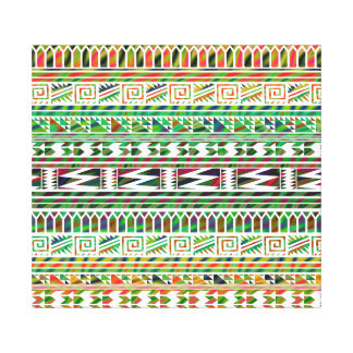 Multicolored Geometric Aztec Tribal Print Pattern Gallery Wrapped Canvas