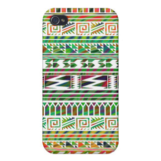 Multicolored Geometric Aztec Tribal Print Pattern Covers For iPhone 4