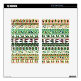 Multicolored Geometric Aztec Tribal Print Pattern Kindle Fire Skins