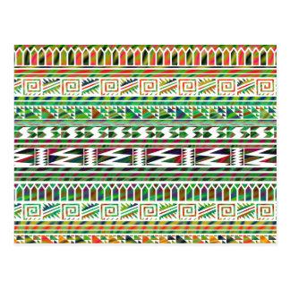 Multicolored Geometric Aztec Tribal Print Pattern Postcard