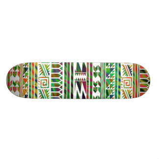 Multicolored Geometric Aztec Tribal Print Pattern Skateboard Deck