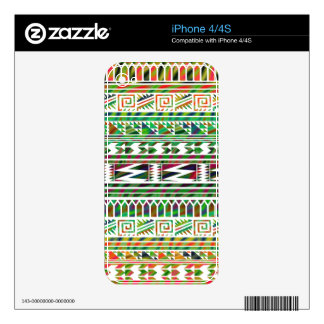Multicolored Geometric Aztec Tribal Print Pattern Skin For iPhone 4S