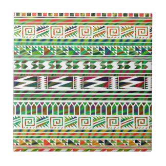 Multicolored Geometric Aztec Tribal Print Pattern Tile