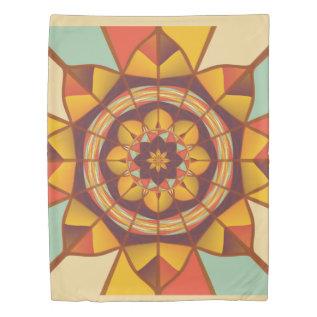 Multicolored Geometric Flourish Duvet Cover at Zazzle