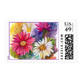 Multicolored Gerbera Daisies Postage Stamp