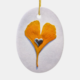 multicolored ginkgo sheet with metal heart, christmas tree ornaments