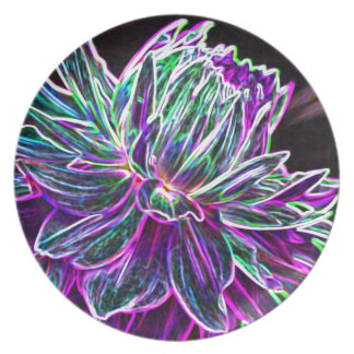 Multicolored Glowing Edge Dahlia Products Melamine Plate