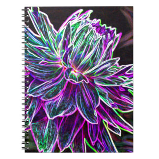 Multicolored Glowing Edge Dahlia Products Spiral Notebook