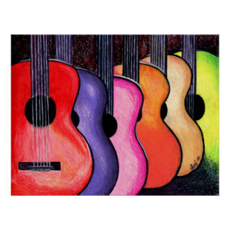 Multicolored Guitars Poster by Loni