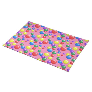 Multicolored Gumballs on ANY COLORED BACKGROUND Cloth Placemat