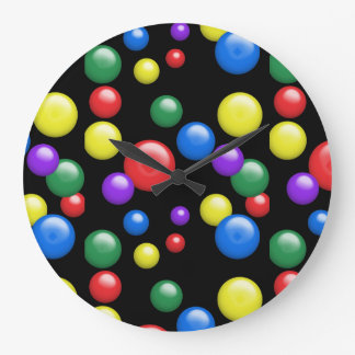 Multicolored Gumballs on Black Large Clock