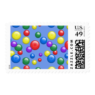 Multicolored Gumballs on Blue Postage Stamp