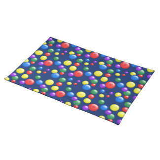 Multicolored Gumballs on Dark Blue Placemat
