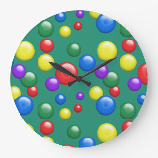 Multicolored Gumballs on Green Large Clock