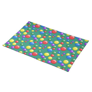 Multicolored Gumballs on Green Placemat